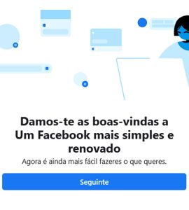 Novo design do Facebook para computador